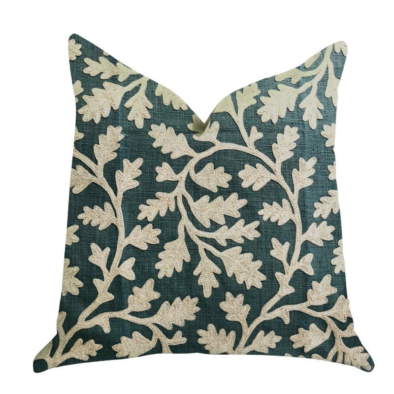"Plutus Brands Wild Emerald Figleaf in Green Luxury Throw Pillow 18"" x 18"" (PBRA1350-1818-DP)"