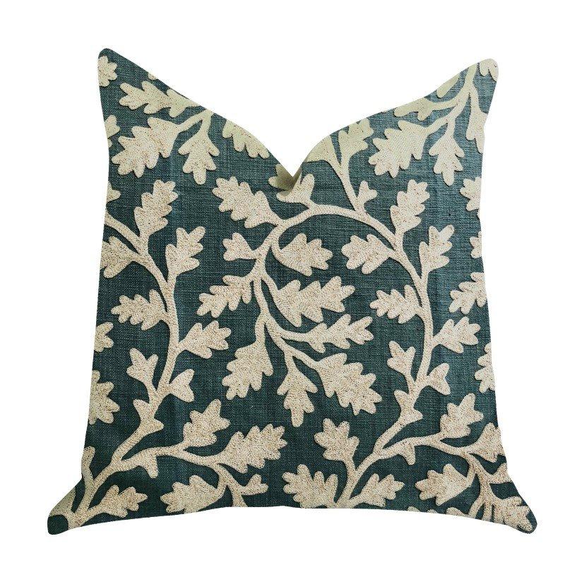 "Plutus Brands Wild Emerald Figleaf in Green Luxury Throw Pillow 20"" x 20"" (PBRA1350-2020-DP)"