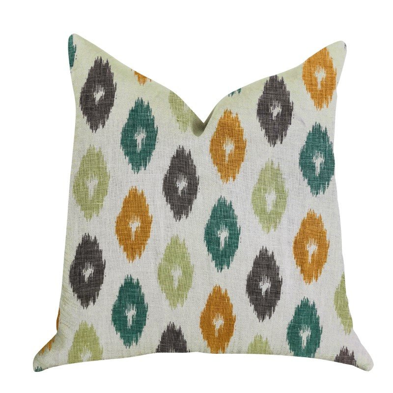 "Plutus Brands Wild Ingrid Ikat Multi Color Luxury Throw Pillow 18"" x 18"" (PBRA1363-1818-DP)"
