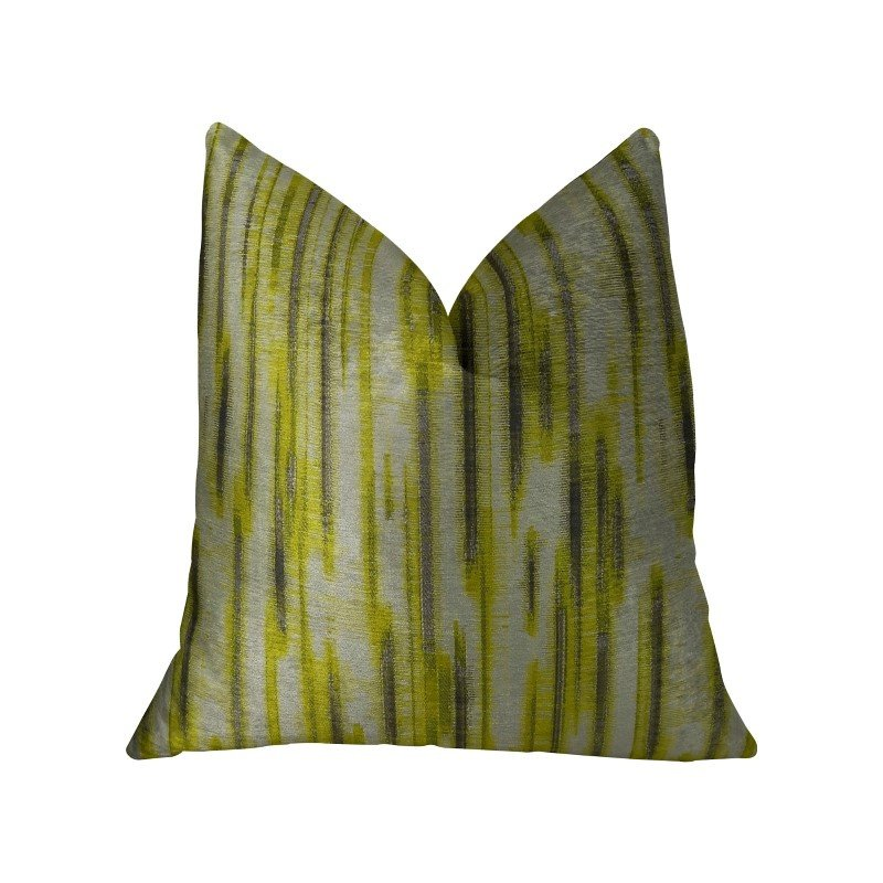"Plutus Brands Wild Sage Green Gray and Cream Handmade Luxury Pillow 24"" x 24"" (PBRAZ194-2424-DP)"