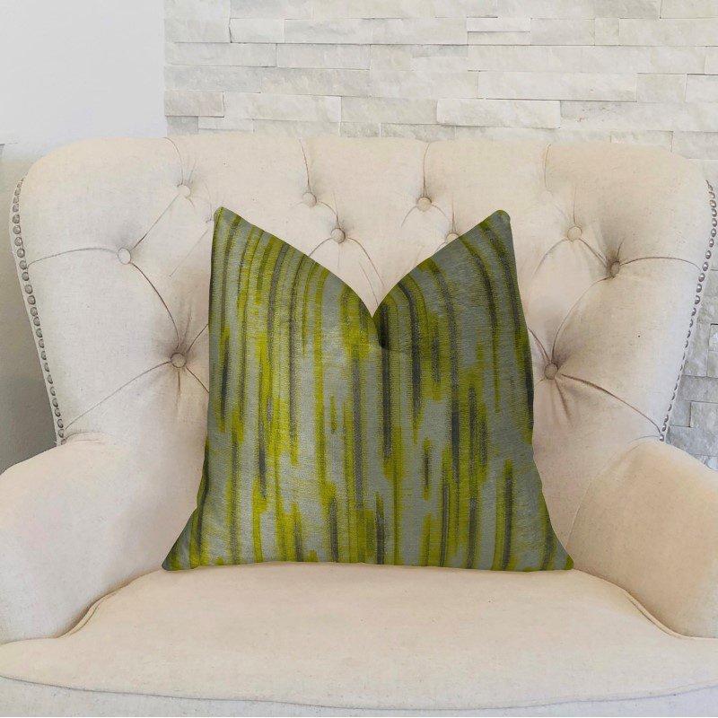 "Plutus Brands Wild Sage Green Gray and Cream Handmade Luxury Pillow 26"" x 26"" (PBRAZ194-2626-DP)"