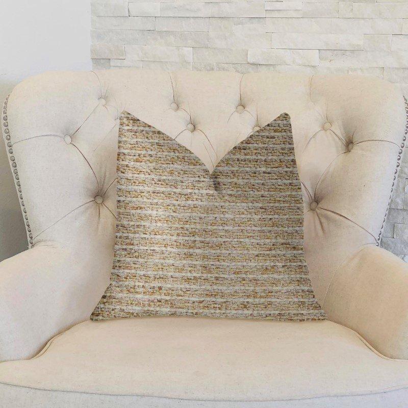 "Plutus Brands Willow Creek Beige and Ivory Luxury Throw Pillow 18"" x 18"" (PBKR1950-1818-DP)"