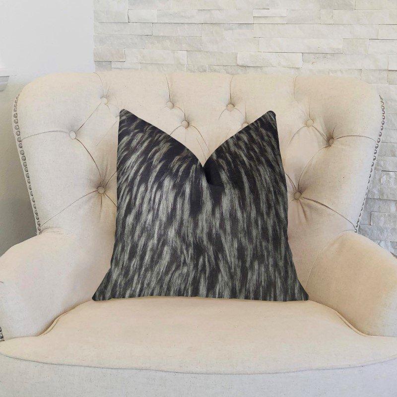 "Plutus Brands Wolf Fur Lover Black White Handmade Luxury Pillow Double Sided 22"" x 22"" (PBRAZ467-2222-DP)"