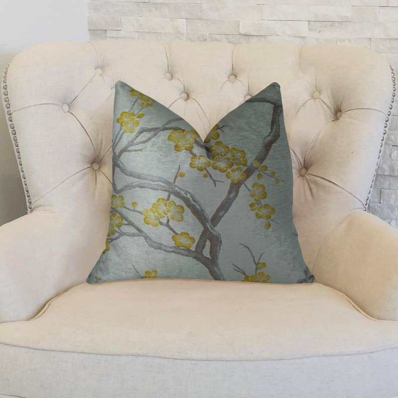 "Plutus Brands Yellow Blossom Yellow and Gray Handmade Luxury Pillow 20"" x 36"" King (PBRAZ115-2036-DP)"