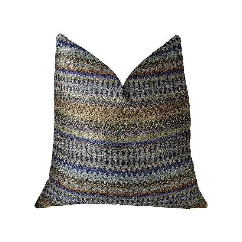 "Plutus Brands Zipline Navy Blue and Taupe Handmade Luxury Pillow 12"" x 20"" (PBRAZ302-1220-DP)"