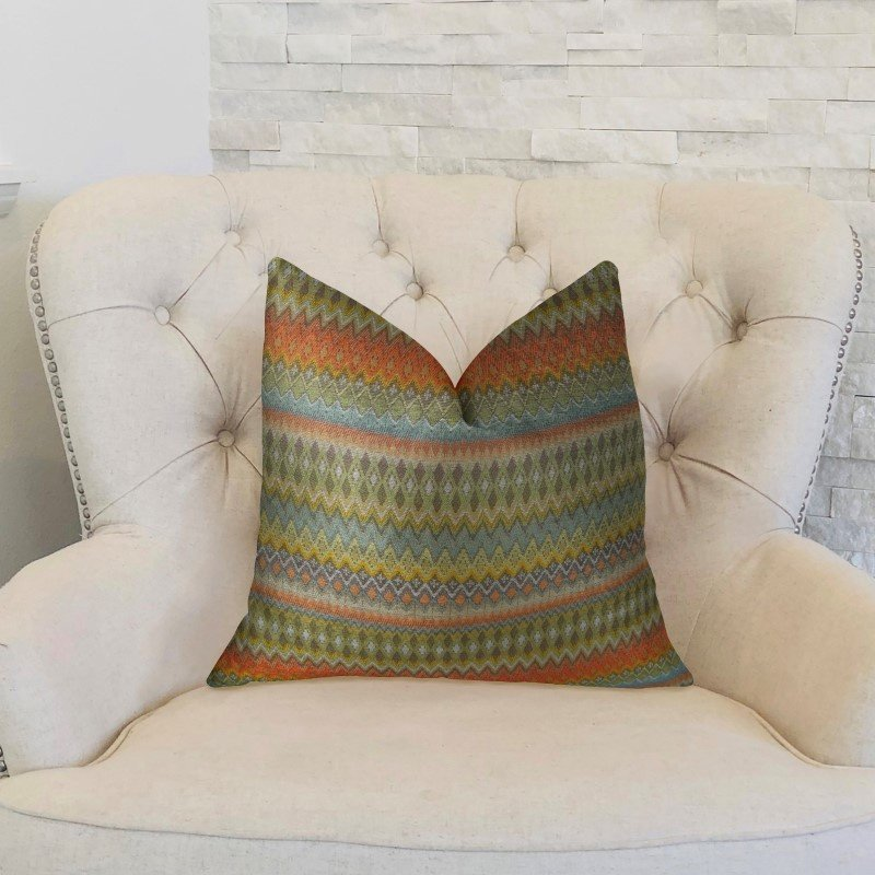 "Plutus Brands Zipline Orange Green and Blue Handmade Luxury Pillow 24"" x 24"" (PBRAZ042-2424-DP)"