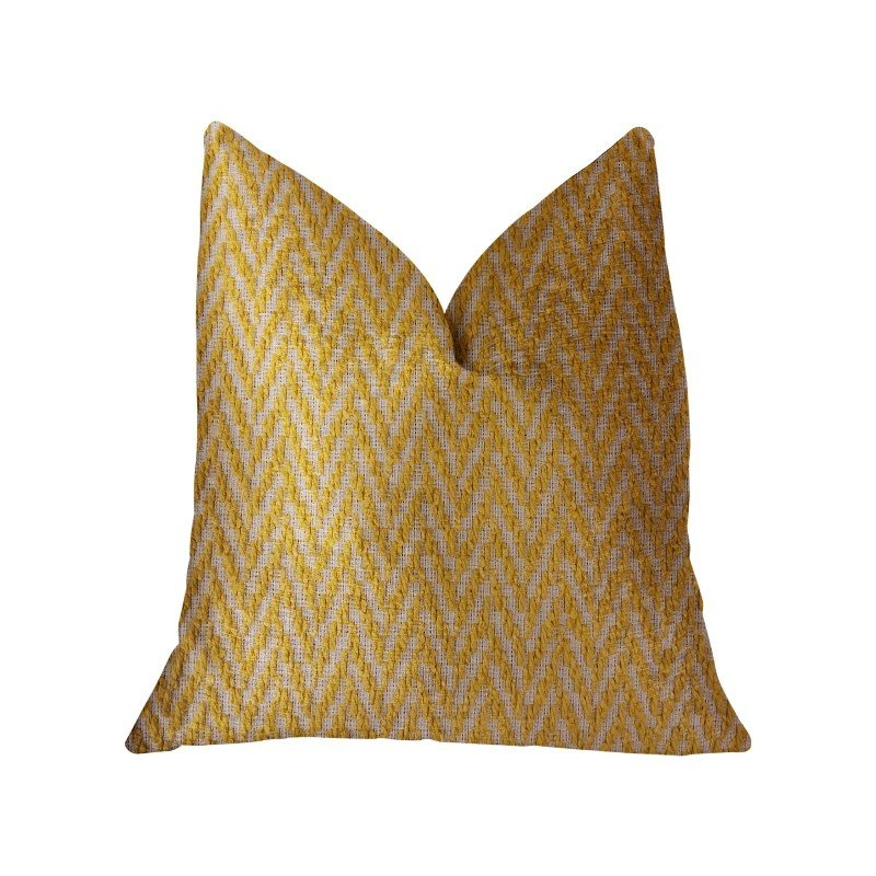 "Plutus Brands Zun Rise Yellow and Beige Luxury Throw Pillow 20"" x 20"" (PBRA2319-2020-DP)"