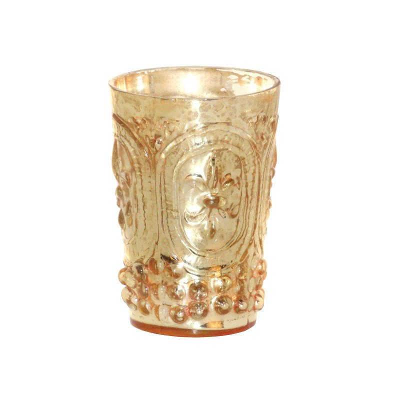 Pomeroy Fleur Embossed Votive in Antique Champagne (391644)