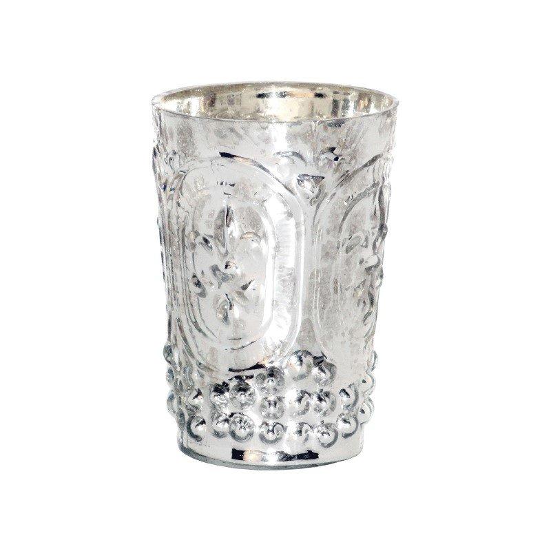 Pomeroy Fleur Embossed Votive in Antique Silver (391637)