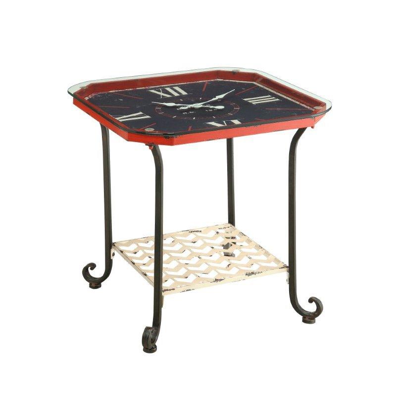 Powell Black Octogon Clock Table