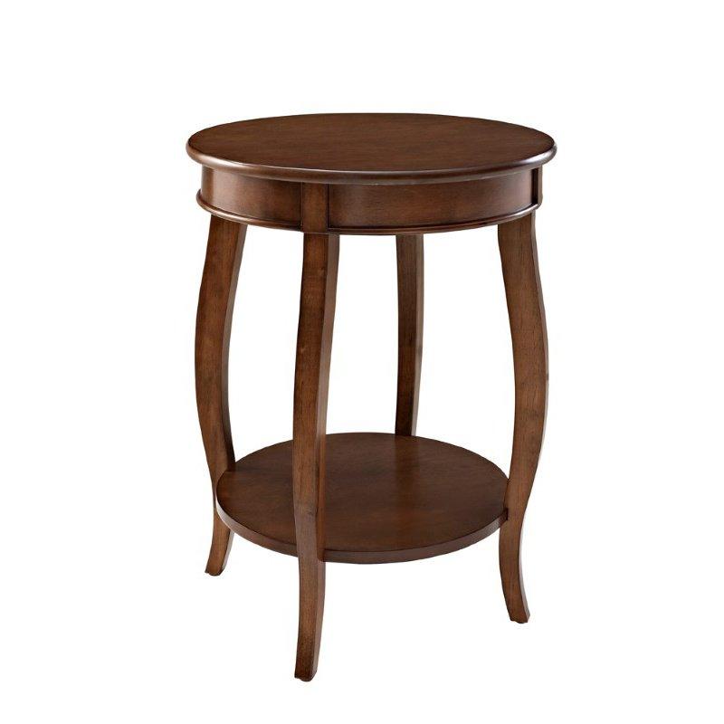 Powell Hazelnut Round Table with Shelf