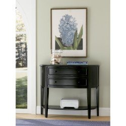 Powell Home Fashions Antique Black with Sand Through Terra Cotta Demilune Console Table (502-515)