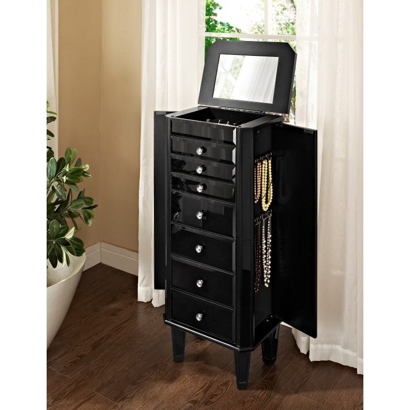 Powell Home Fashions Black Glass Jewelry Armoire (528-323)