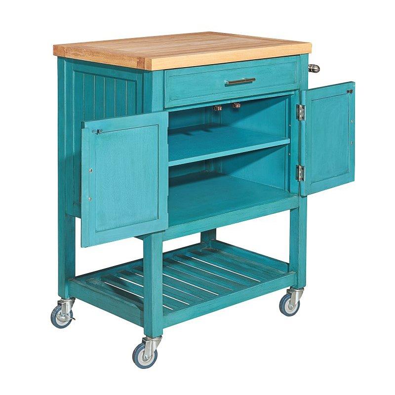 Powell Home Fashions Conrad Teal Kitchen Cart (D1008A15T)
