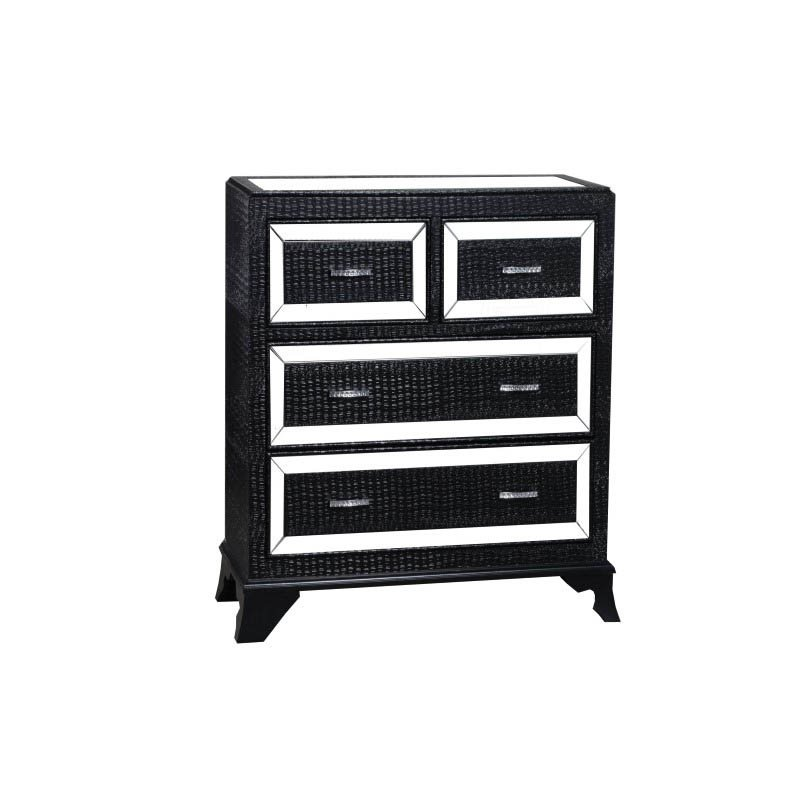 Powell Home Fashions Glamour 4 Drawer Chest in Black (14A2019COB)