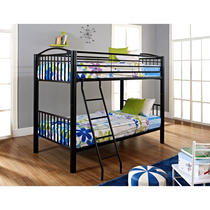 Powell Home Fashions Heavy Metal Black Twin Over Twin Bunk Bed (938-138)
