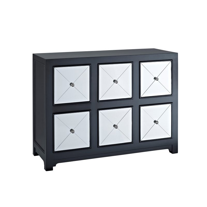 Powell Home Fashions Mirrored 6-Drawer Black Wood Console (233-660)