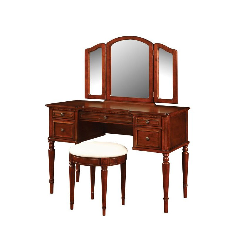 Powell Home Fashions Warm Cherry Vanity - Mirror & Bench (429-290)