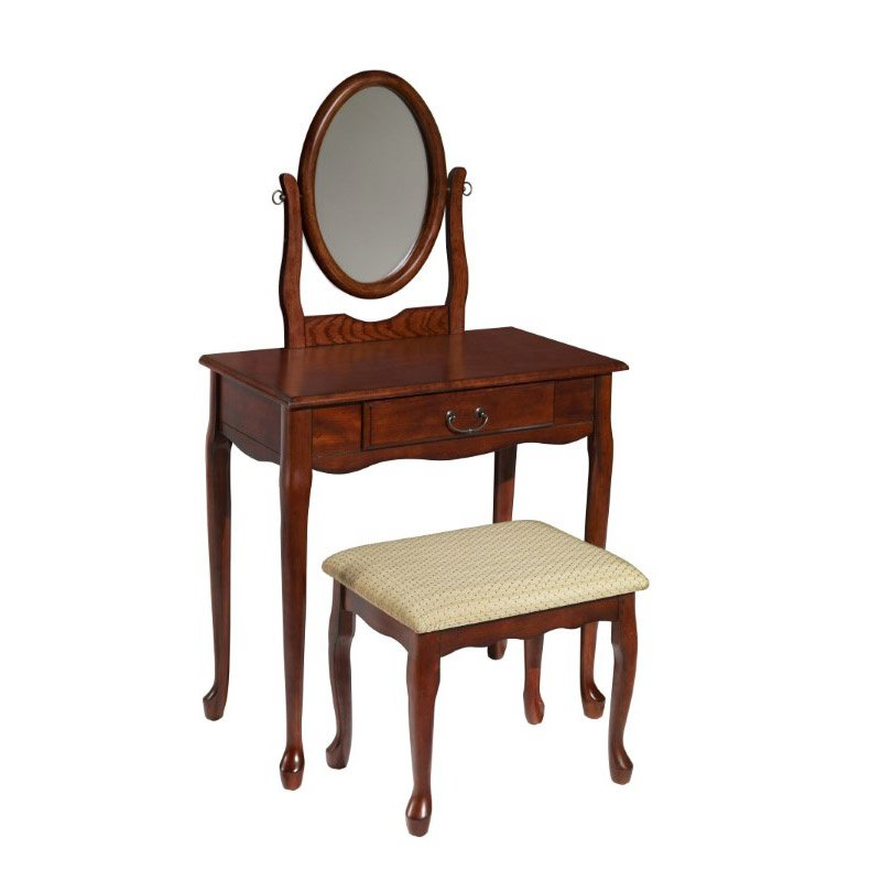Powell Home Fashions Woodland Cherry Vanity - Mirror & Bench (605-290)
