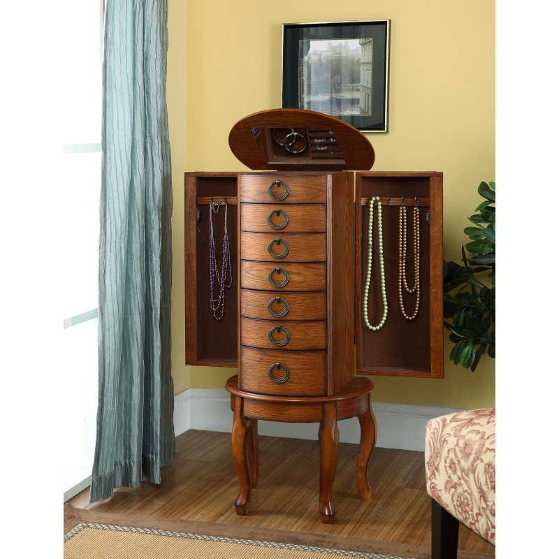 Powell Jewelry Armoires in Burnished Oak