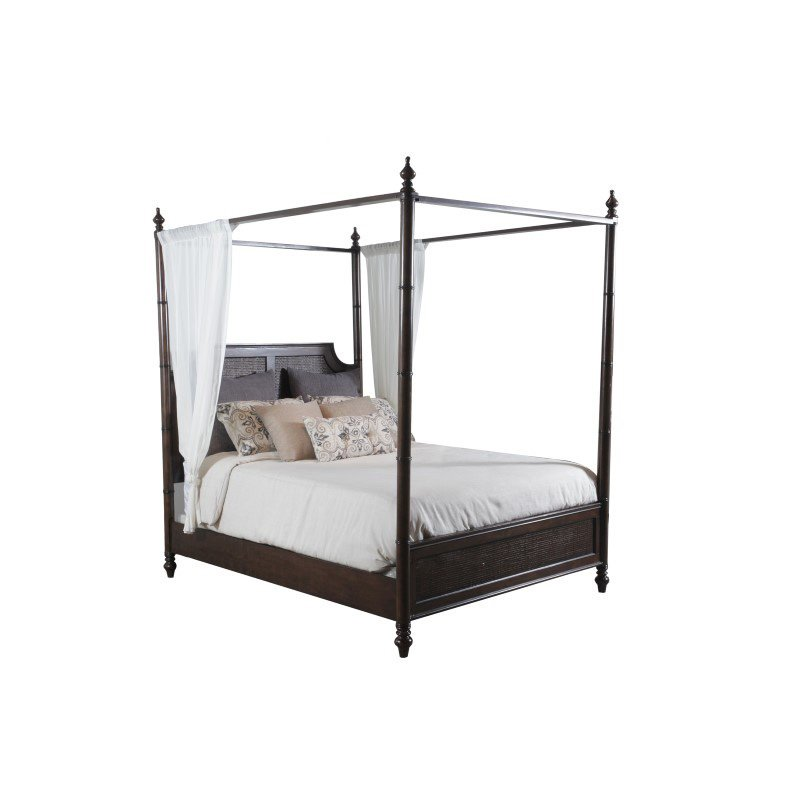 Powell Passages Queen Canopy Bed in Brown
