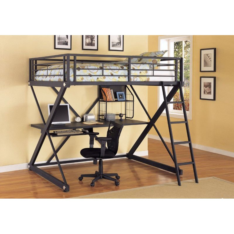 Powell Z-Bedroom Full Size Study Metal Loft Bunk Bed in Powder-Coat Black Finish