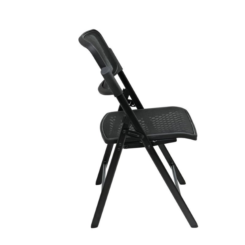 Pro-Line II Deluxe Folding Chair With Black ProGrid Seat and Back and Black Finish (Set of 2) Gangable