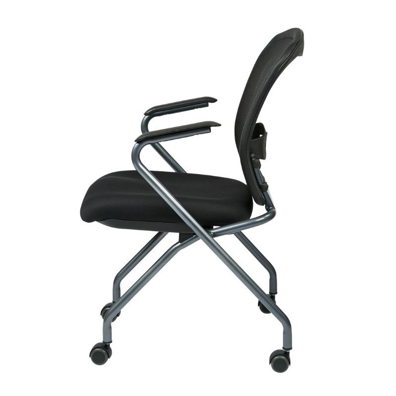 Pro-Line II Deluxe Folding Chair with ProGrid Back' Arms and Titanium Finish (Set of 2)