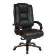 Pro-Line II Deluxe High Back Black Executive Leather Chair with Deluxe Locking Mid Pivot Knee Tilt and Mahogany Finish