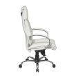 Pro-Line II Deluxe High Back White Executive Leather Chair with Chrome Finish Base and Padded Polished Aluminum Arms