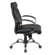 Pro-Line II Deluxe Mid Back Black Executive Leather Chair with Chrome Finish Base and Padded Polished Aluminum Arms