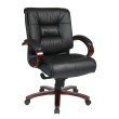 Pro-Line II Deluxe Mid Back Black Executive Leather Chair with Deluxe Locking Mid Pivot Knee Tilt and Mahogany Finish