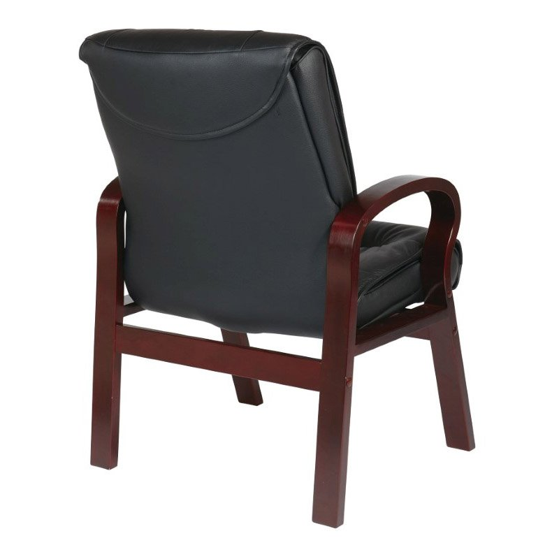 Pro-Line II Deluxe Mid Back Black Leather Visitors Chair with Mahogany Finish