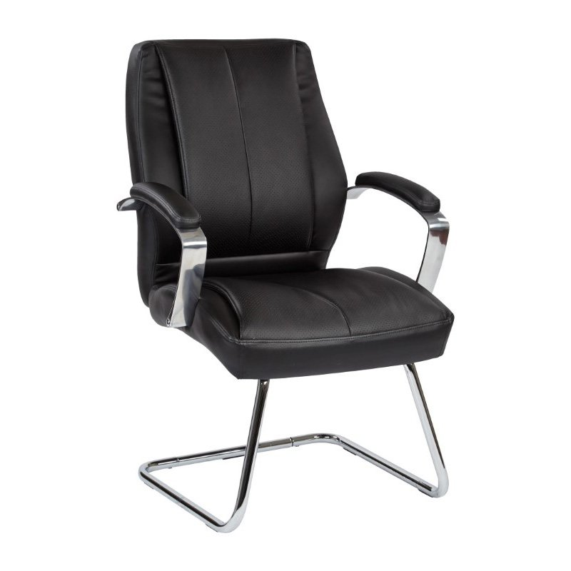 Pro-Line II Deluxe Mid Back Executive Black Bonded Leather Visitors Chair with Chrome Finish Base and Padded Polished Aluminum Arms