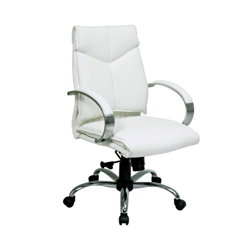 Pro-Line II Deluxe Mid Back Executive White Leather Chair with Chrome Finish Base and Padded Polished Aluminum Arms