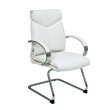 Pro-Line II Deluxe Mid Back White Leather Visitors Chair with Chrome Base and Padded Polished Aluminum Arms