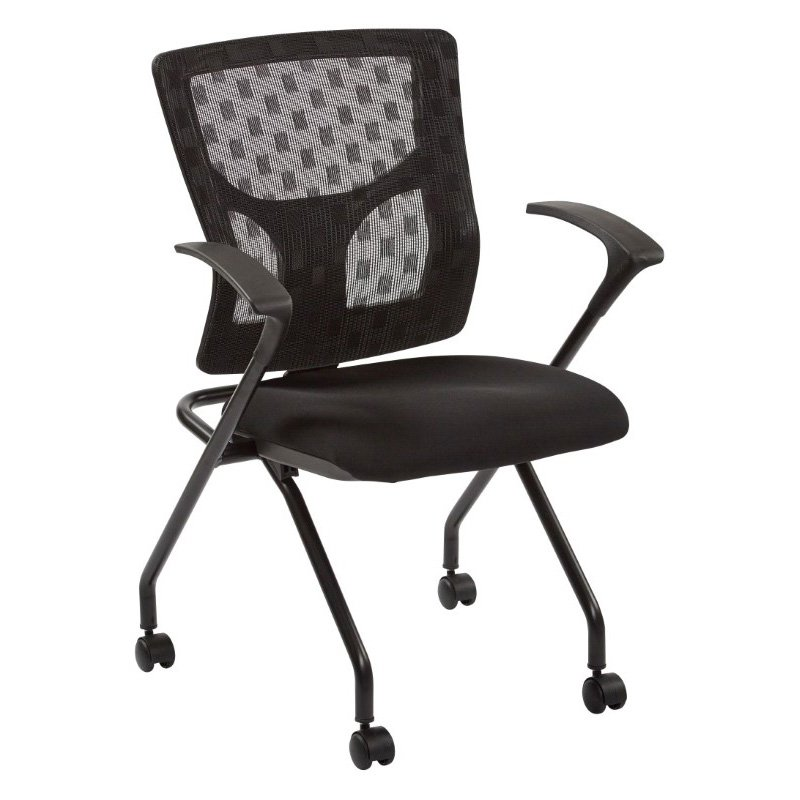 Pro-Line II ProGrid Checkered Mesh Back Folding Chair with Black Frame and Coal Free Flex Fabric with Casters and Titanium or Black Frame (Set of 2)