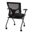 Pro-Line II ProGrid Checkered Mesh Back Folding Chair with Titanium Frame and Coal Free Flex Fabric with Casters and Titanium or Black Frame (Set of 2)