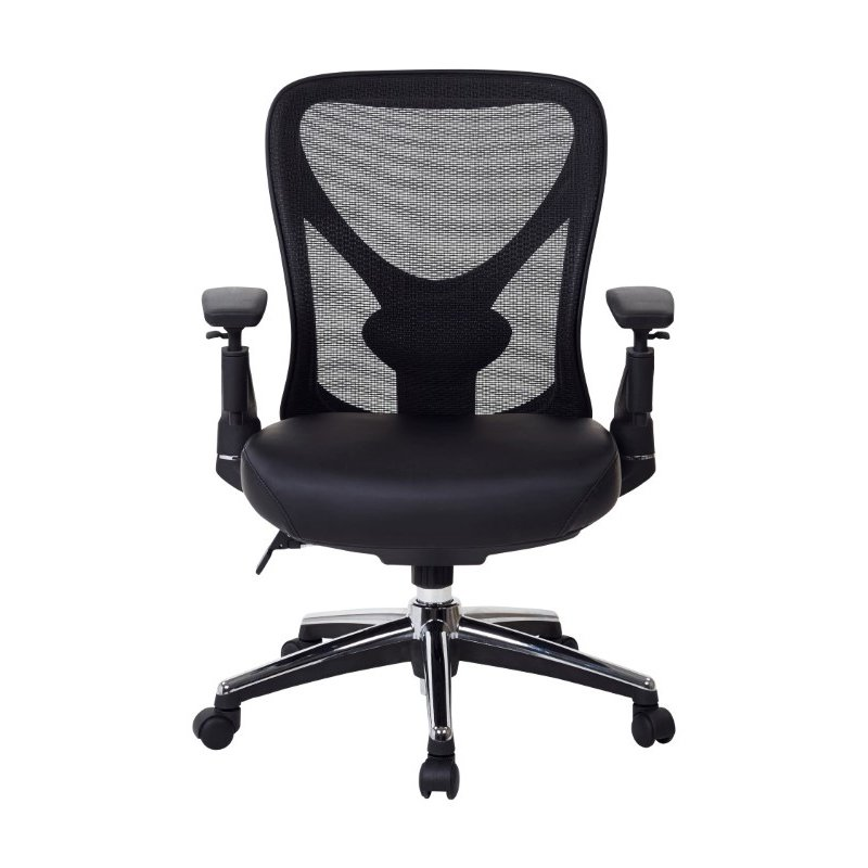 Pro-Line II ProGrid Mesh Back Managers Chair with Leather Seat' Chrome Accents Arms' Ratchet Height Adjustable Back and Chrome Finish Nylon Base