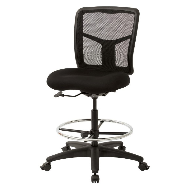 Pro-Line II ProGrid Mesh Drafting Chair with Coal FreeFlex Fabric' Adjustable Footring and Dual Wheel Locking Carpet Casters