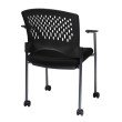 Pro-Line II Titanium Finish Rolling Black Visitors Chair with Casters' Arms and Ventilated Plastic Wrap Around Back