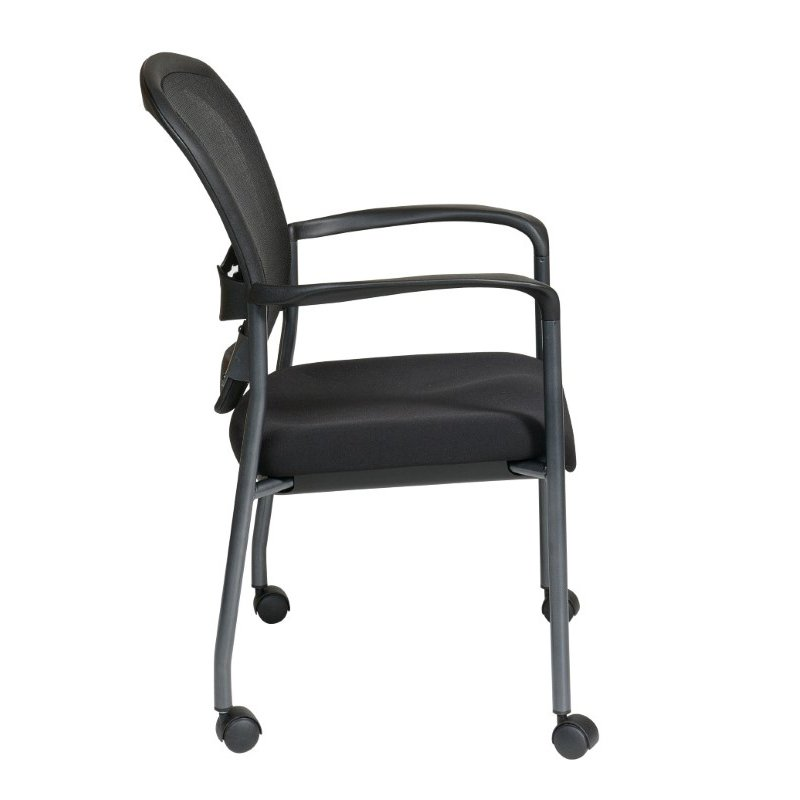Pro-Line II Titanium Finish Visitors Chair with Arms' Casters and Breathable Mesh ProGrid Back