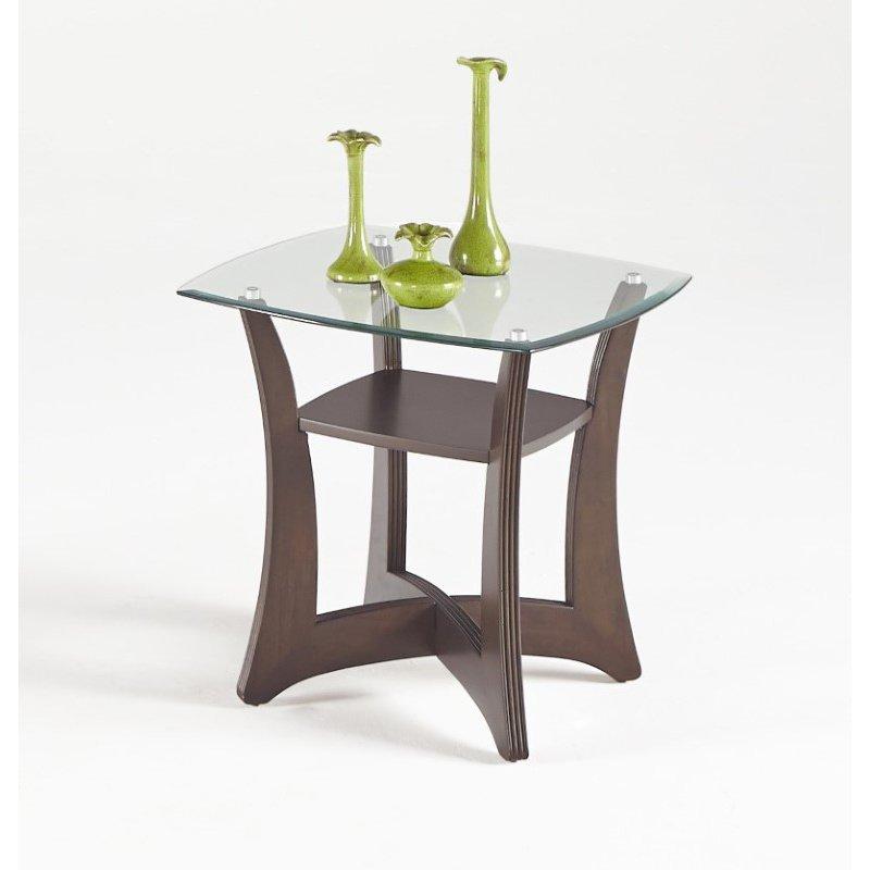 Progressive Furniture Abacoa Square Lamp Table in Dark Walnut