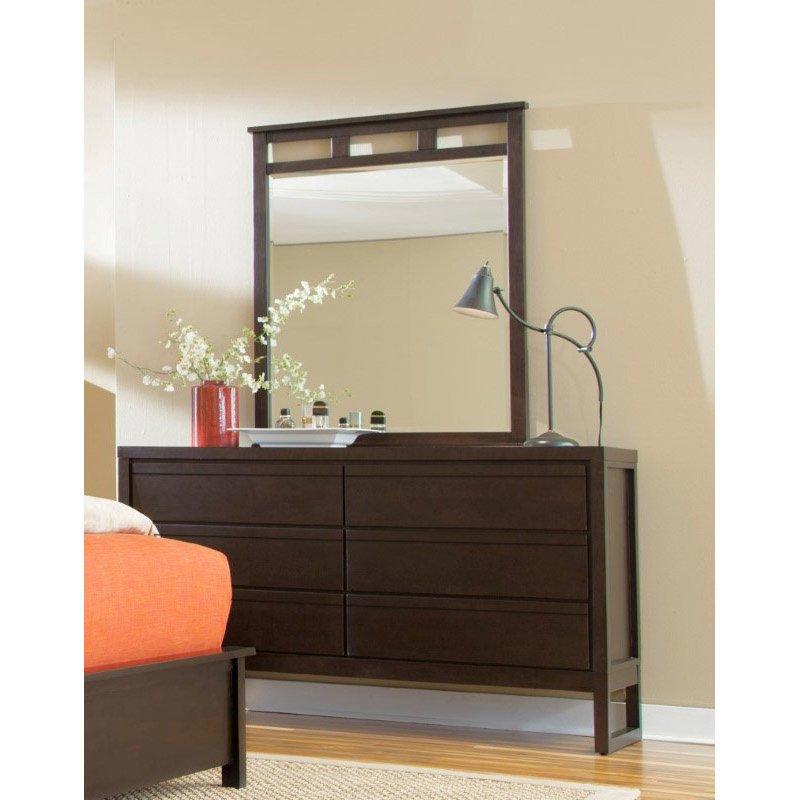 Progressive Furniture Athena Drawer Dresser and Mirror in Dark Chocolate