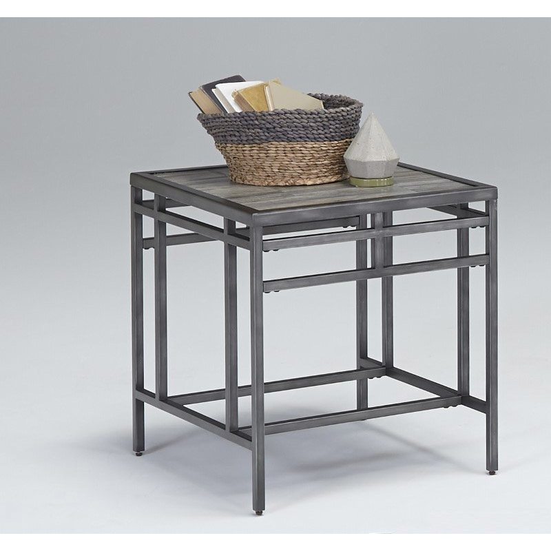 Progressive Furniture Aurora Rectangular End Table in Sky Tile (T260-04)