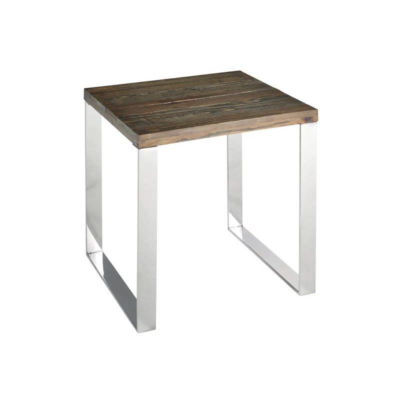 Progressive Furniture Axel End Table in Chrome and Chargrey