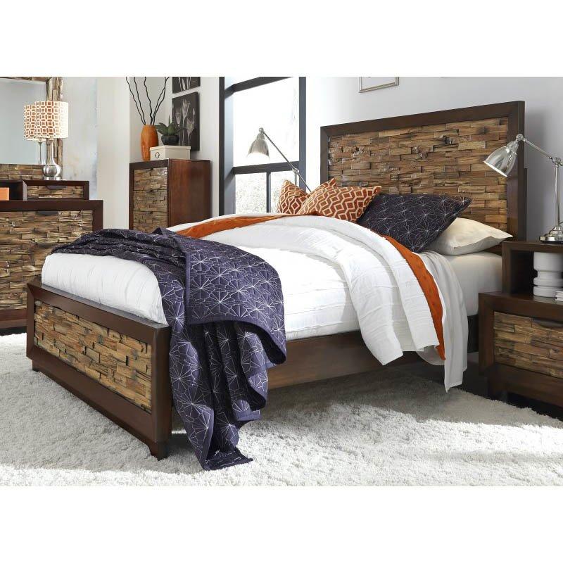 Progressive Furniture Bali King Complete Bed in Light/Dark Mahogany