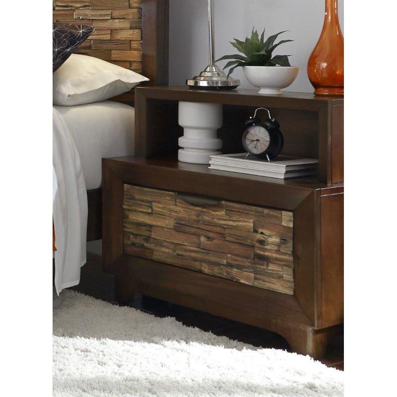 Progressive Furniture Bali Nightstand in Light/Dark Mahogany
