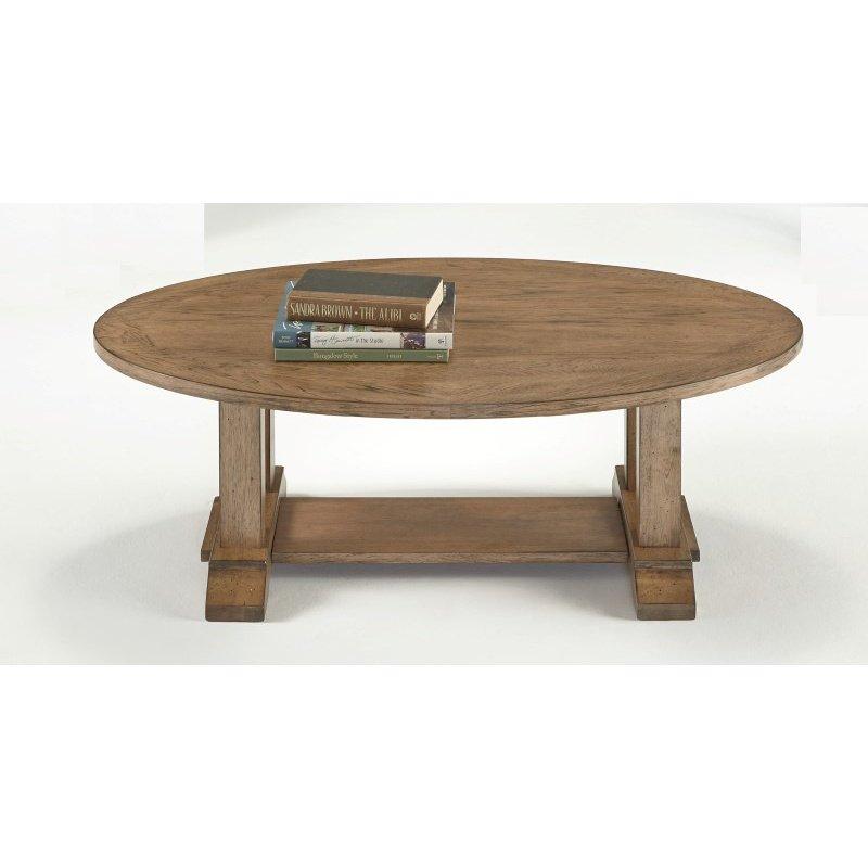 Progressive Furniture Boulder Creek Oval Cocktail Table in Antique Pecan