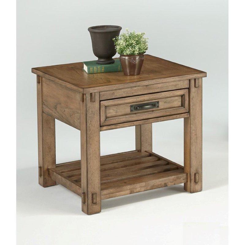 Progressive Furniture Boulder Creek Square Lamp Table in Antique Pecan